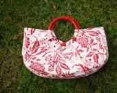 EZorange Red-White Floral Cotton Handbag, round bamboo handles -  FREE SHIPPING
