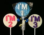 Set of 24 - I'm 1 - I'm 2 - I'm 3 Birthday chocolate favors - premium Merckens chocolate - choose your colors and flavor (over 30 flavors)