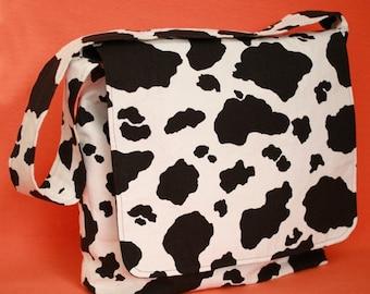 """FUN """"Where is my milk"""" cow print diaper bag, cotton"""