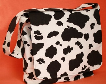 "Free Shipping - FUN ""Where is my milk"" cow print diaper bag"
