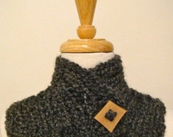 SALE - Grey crochet neckwarmer with wooden square button - for her or for him - ooak - FREE SHIPPING
