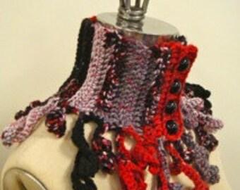 "Freeform crochet ""Curlz"" neckwarmer - red, grey and black - 4 buttons"