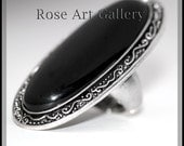 Raised Black Cats Eye & Vintage Silver Plate 3 Inch Face with Stretch Band