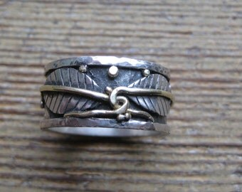 Tying the Knot- Wedding RIng of 14kt Gold and Sterling Silver