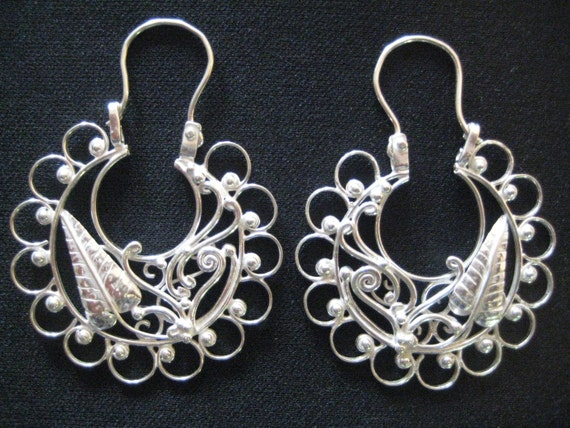 mexican earrings traditional silver hoop earringstraditional mexican arracadas 1557