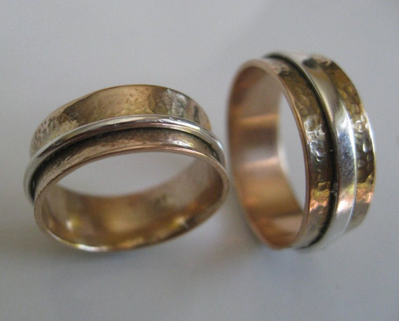 His and Hers Wedding Rings-- Spin Rings