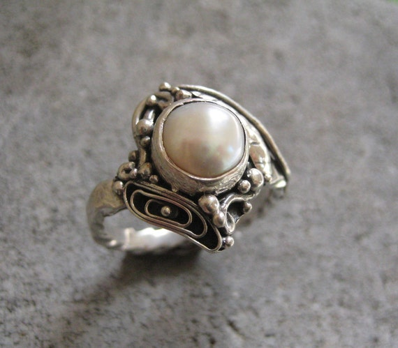 Reserved for Peggy-Filigree Sterling Silver Ring with Freshwater Pearl