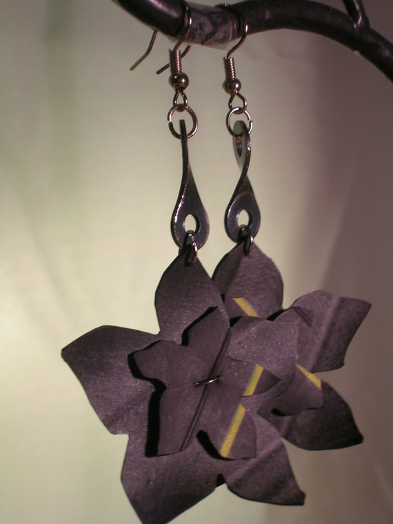 bicycle chain and tube flower earrings