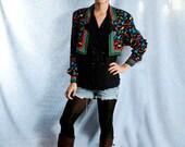 Vintage 1990s Adrianna Papell Shoe Print Blazer Blouse