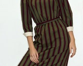 1970s Cranberry/Olive Verticle Striped Dress
