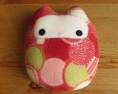 Plush Owl with Red Circle Patterned Fleece