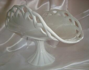 Milk Glass Pedestal Dish Serving Dish