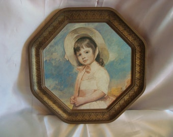 Vintage Wall Hanging Little Girl WIth Bonnet Tin Wall Art