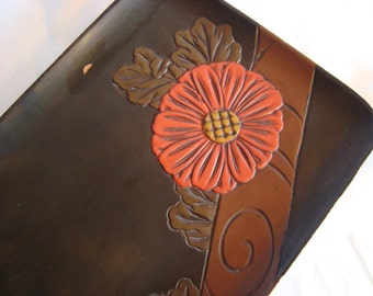 Wood Carved Tray Serving Tray Wooden Floral Tray TREASURY ITEM