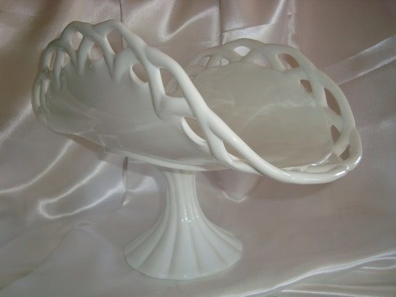 Milk Glass Pedestal Dish Serving Dish