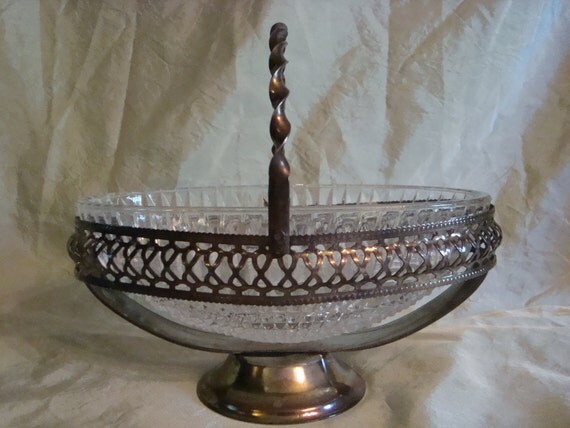 Vintage Crystal Cut Glass Silverplated Candy Dish TREASURY ITEM