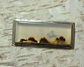 Cowboy Western Silver Brooch with Montana Agate