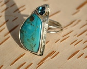 Natural Nevada Turquoise in Silver Ring with Blue Topaz