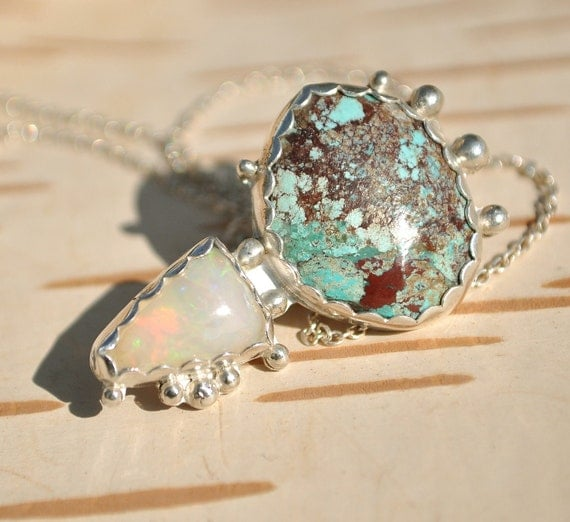Turquoise Sterling Silver Necklace Opal