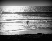 California Surfer Dude, 8x10 Fine Art Photograph, man, boy, beach, sand, sky, waves, wave, sunset, black and white, surfing