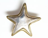 Clip-On Sterling Silver Earrings of STAR with Gold Outline, Signed and Hallmarked