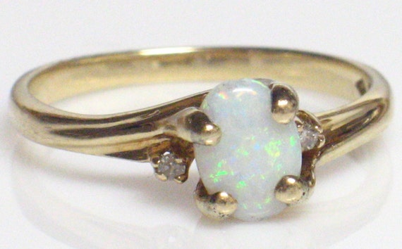 10k Opal Ring, Opal and Chip Diamonds Hallmarked and Signed Size 6.5