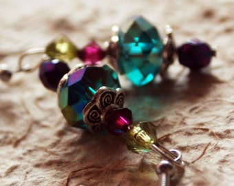 Enchanted Forest Earrings blue green purple czech from MAYA Collections