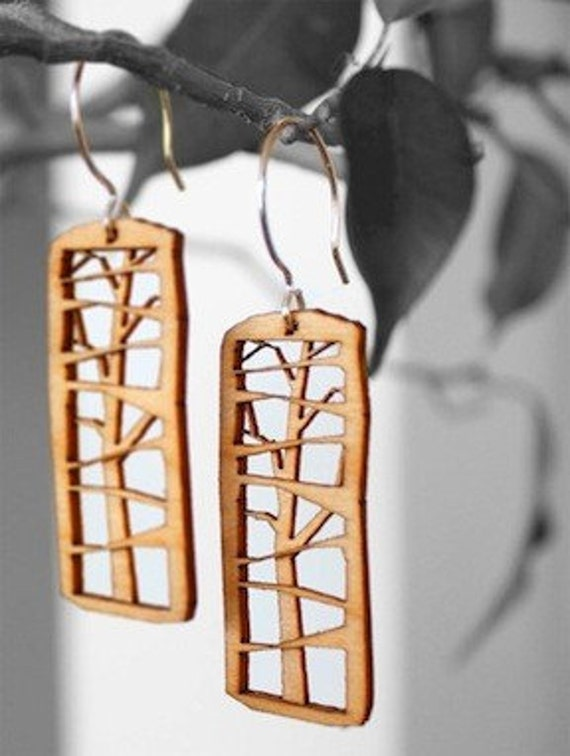 Blonde Basswood Tree Earrings made in San Francisco, CA (w/gold or silver earhooks)