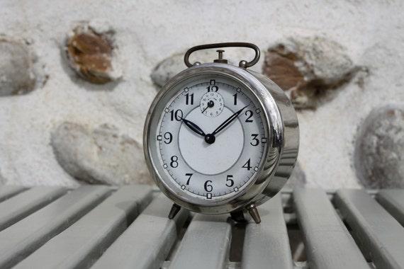 French Vintage Alarm Clock Loft Deco Chrome