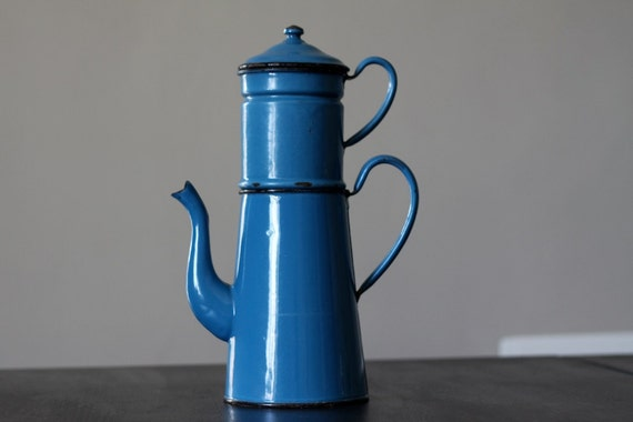 Fabulous French Enamel Coffee Pot Vintage 1920's Petrol Blue