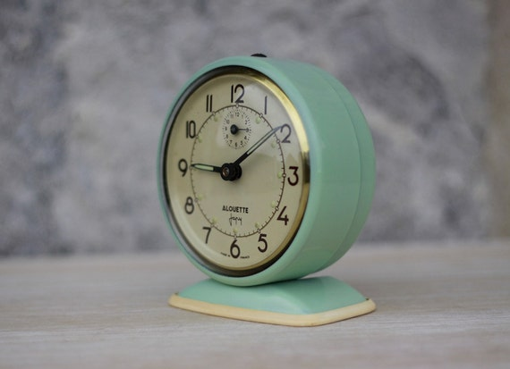Vintage French Japy Green Alarm Clock  50's Retro/ Mid Century