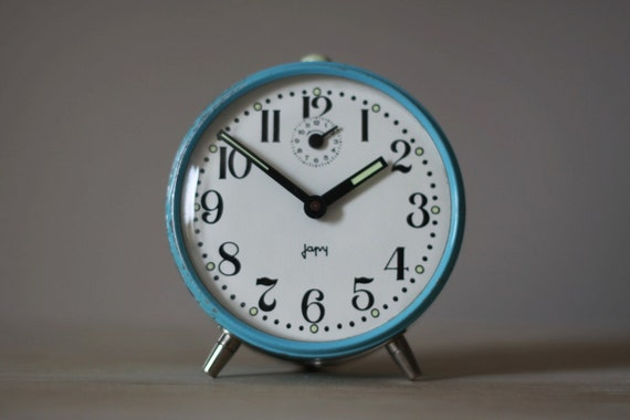Vintage French Japy Sky Blue  Alarm Clock  60's Retro/ Mid Century