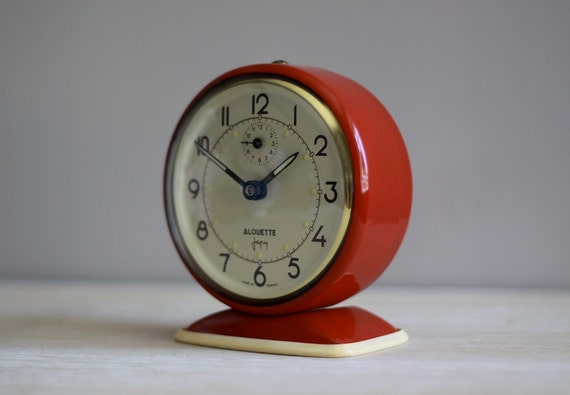 Vintage Japy Red  French Alarm Clock  50's Retro/ Mid Century Upcycled
