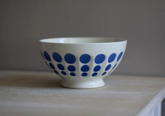 Large Vintage Digoin Blue Cafe Au Lait Bowl Shabby Chic RESERVED For IK
