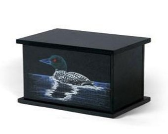 Hand Etched Cremation Urn Black Granite Loon