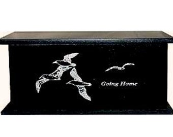 Laser Engraved Cremation Urn  Black Granite Going Home