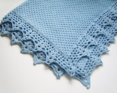 Knitted Baby Blanket - Light Blue