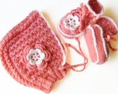 Hand Knitted Set - Baby Booties and Bonnet with Crocheted Lace Edging and Flowers - Pink / White, 6 - 9 months