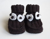 Hand Knitted Baby Booties - Dark Brown,  3 - 6 months