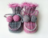 Hand Knitted Baby Booties - Gray and Pink, 6 - 9 months