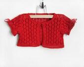 Knitted Baby Bolero Jacket - Red, 1.5 - 2 years