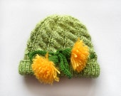 Hand Knitted Baby Hat - Green, 0 - 3 months