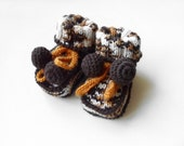 Hand Knitted Baby Booties - Brown and White