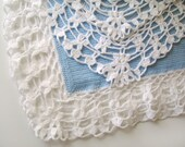 Knitted Baby Blanket - Light Blue with White Edges