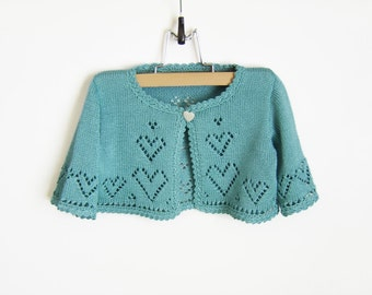 Knitted Baby Short Cardigan, Jacket - Turquoise Blue, 2 - 2.5 years