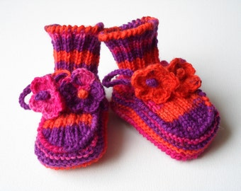 Hand Knitted Baby Booties - Multicolor, 3 - 6 months