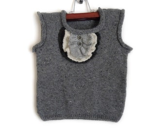 Knitted Baby Vest - Grey, 2 - 3 years