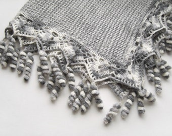 Knitted Baby Blanket - Gray with White