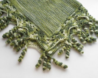 Knitted Baby Blanket - Shades of Green