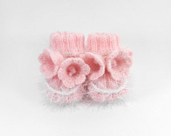 Hand Knitted Baby Booties with Crochet Bell Flowers - Light Pink, 3 - 6 months